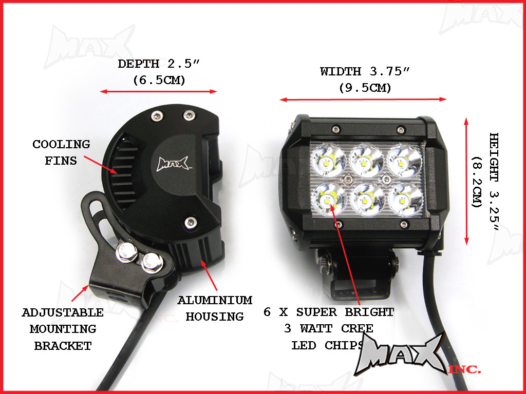 Universal Motorcycle 18 Watt Cree Led Spot Driving Lights Wiring Diagram Spotlights Car Complete Kit