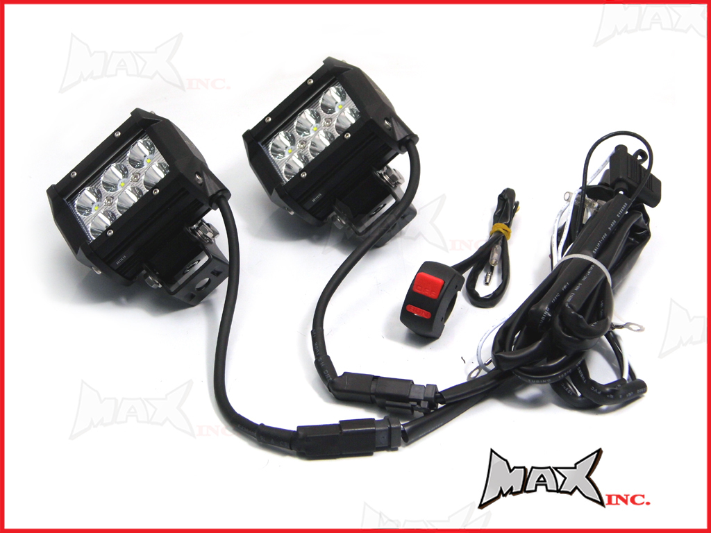 Universal Motorcycle 18 Watt Cree Led Spot Driving Lights Wiring Harness Complete Kit