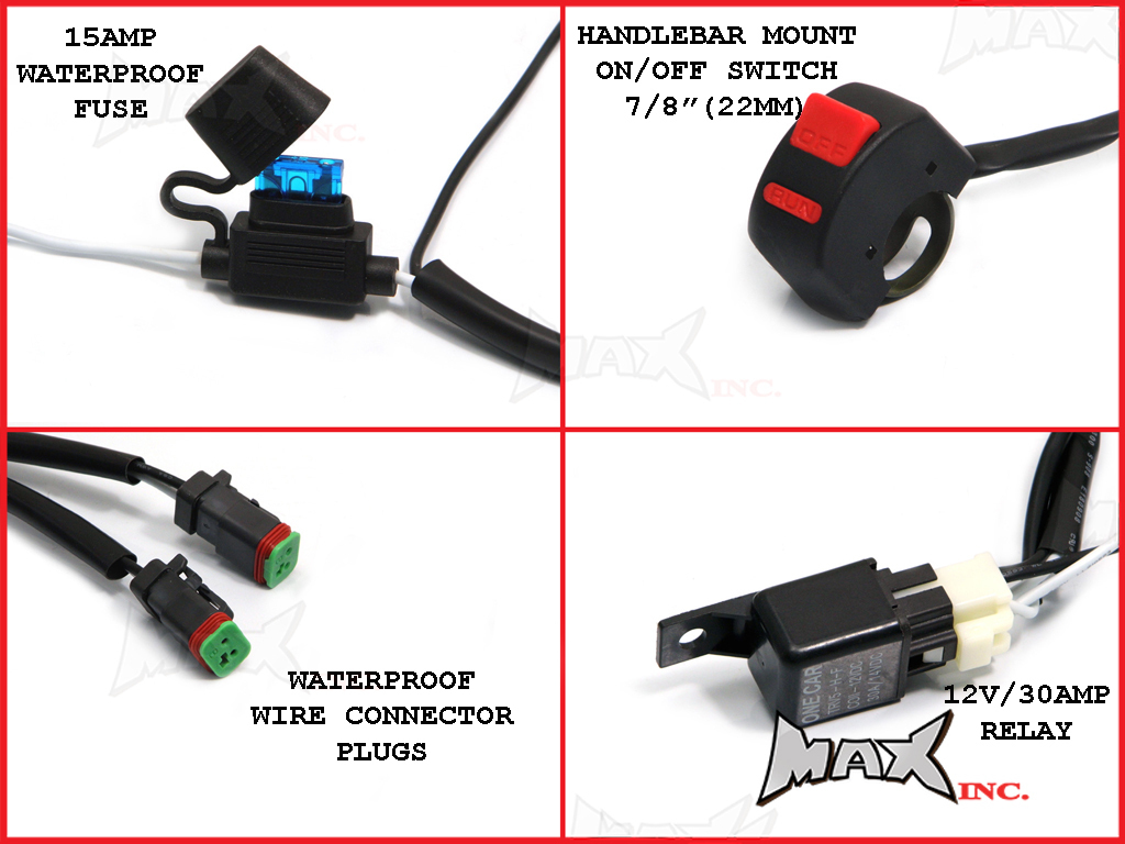 Complete Motorcycle Wiring Harness : Universal motorcycle watt cree led spot driving
