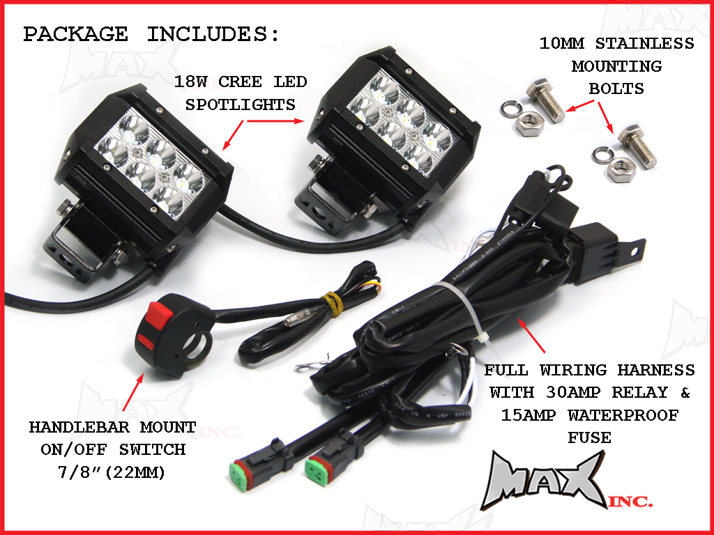 Universal Motorcycle 18 Watt Cree Led Spot Driving Lights Light Wiring Harness Diagram Complete Kit